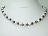 Harmony Black White Roundish Pearl Necklace 7-8mm