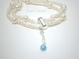 Countessa 2-Row White Big and Mini Pearl Bracelet with Something Blue