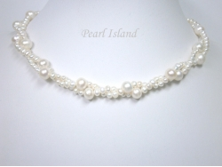 Countessa 2-Row White Big and Mini Pearl Necklace with Something Blue