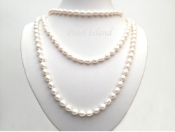 66 Inch Countessa White Long Rope Oval Pearl Necklace