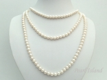 64 Inch Countessa Cream White Near Round Pearl Long Rope Necklace 6-7mm