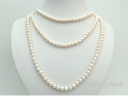 65 Inch Countessa Cream White Near Round Pearl Long Rope Necklace 7-7.5mm