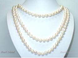 67 Inch Countessa White Circle Pearl Long Rope Necklace 8-9mm