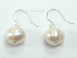 Countessa White Roundish Circle Pearl Earrings 9-10mm