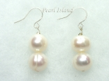 Countessa White Circle Pearl Earrings with 2 pearls
