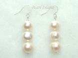 Bridal Pearls - Countessa White Circle Pearl Earrings with 3 pearls