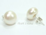 Countessa White Round Pearl Stud Earrings 10-11mm