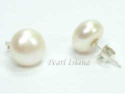 Bridal Pearls - Countessa White Roundish Pearl Stud Earrings 10-11mm
