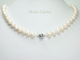 Countessa White Circle Pearl Necklace with Magnetic Clasp