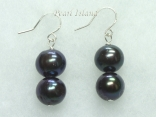 Countessa Gun-metal Grey Circle Pearl Earrings with 2 pearls