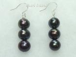 Countessa Gun-metal Grey Circle Pearl Earrings with 3 pearls