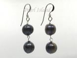 Countessa Gun-metal Grey Circle Pearl Dangle Earrings