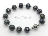 Countessa Gun-metal Grey Black Circlet Pearl Link Bracelet with Magnetic Clasp