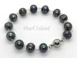 Countessa Gun-metal Grey Black Circlet Pearl Link Bracelet with Magnetic Clasp
