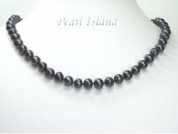 Countessa Gun-metal Grey Black Circle Pearl Necklace with Magnetic Clasp