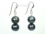 Countessa Peacock Green Circle Pearl Earrings with 2 pearls