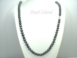 36 Inch Opera Length Peacock Green Circle Pearl Necklace