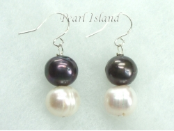 Countessa Black White Circle Pearl Earrings