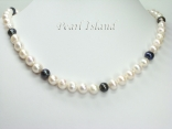 Countessa Black White Circle Pearl Necklace 9-10mm
