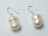 Countessa Large White Baroque Pearl Earrings 10x15mm