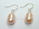 Countessa Peach Baroque Pearl Earrings 7x9mm