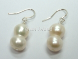 Countessa White Baroque Pearl Earrings 7x9mm