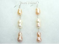 Countessa Lavender Peach White Long Pearl Earrings