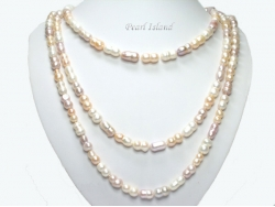 66 Inch Countessa Lavender PW Baroque Pearl Long Rope Necklace 7x9mm