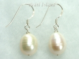 Countessa Large White Oval Pearl Earrings (12mm)