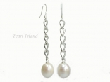 Countessa Large White Oval Pearl Long Earrings (12mm)