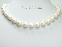 Countessa Large White Oval Pearl Necklace (12mm) with extension chain
