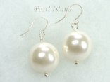 Bridal Pearls - Utopia Ivory Shell Pearl Earrings 14mm