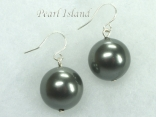 Utopia Gun-metal Grey Shell Pearl Earrings 14mm