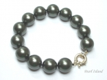 Utopia Gun-metal Grey Shell Pearl Bracelet 14mm