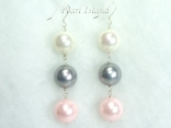 Bridal Pearls - Utopia Pink Grey White Shell Pearl Earrings