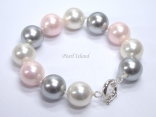 Utopia Pink Grey White Shell Pearl Bracelet
