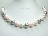 Utopia Pink Grey White Shell Pearl Necklace