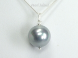 Utopia Silver Grey Shell Pearl Pendant 14mm