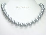 Utopia Silver Grey Shell Pearl Necklace