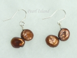 Princess Brown Keshi Pearl Earrings 8-9mm with 2 Pearls