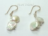 Princess White Keshi Pearl Earrings 8-9mm with 2 Pearls