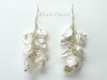 Princess White Keshi Pearl Earrings 8-9mm