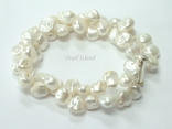 Princess 2-Row White Keshi Pearl Bracelet 8-9mm