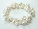 Princess 2-Row White Keshi Pearl Bracelet 8-9mm