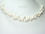 Princess 2-Row White Keshi Pearl Necklace 8-9mm