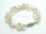 Princess 2-Row White Keshi Pearl Bracelet with Magnetic Clasp 8-9mm
