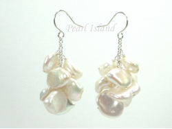 Princess White Keshi Pearl Earrings 10-12mm