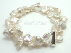 Princess 2-Row White Keshi Pearl Bracelet 10-12mm