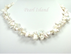 Princess 2-Row White Keshi Pearl Necklace 10-12mm