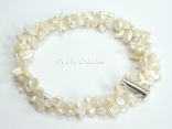 Princess 2-Row Ivory Keshi Pearl Bracelet 5-7mm